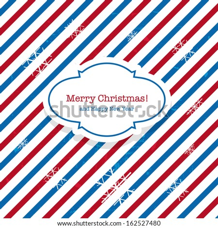 Christmas Santa post red and blue mail background - stock vector