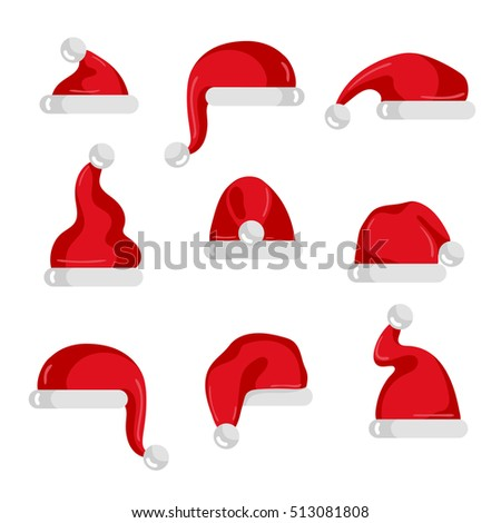 Christmas santa red hat isolated vector icons. Cartoon xmas santa hat set. Santa hat for photo montage or christmas party with santa hat.