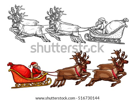reindeer pulling sleigh coloring pages - photo#37