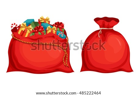 Christmas Santa's bag  with full of gift boxes and present. Holiday object vector illustration.