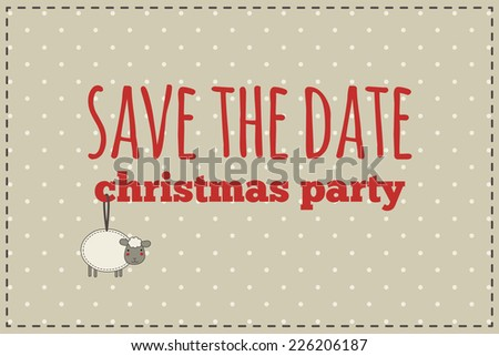 Christmas save the date card. Illustration of christmas sheep with gift bow on a polka dot background.