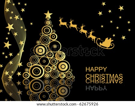 christmas scene - christmas card - vector - stock vector