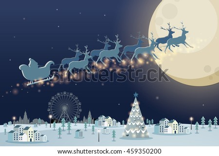 christmas scene/ reindeer vector/illustration