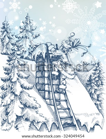 Christmas scene, Santa climbing a chimney - stock vector