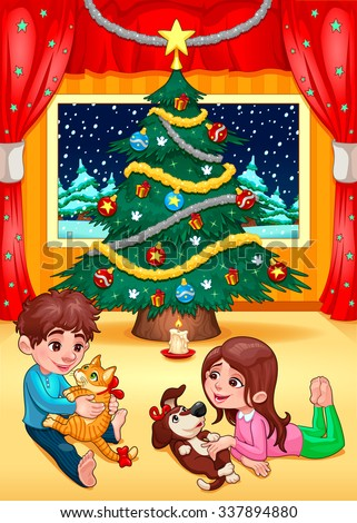 Christmas scene with children and pets. Cartoon vector illustration - stock vector