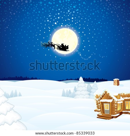 Christmas Scene with Flying Santa Sleigh and his Reindeer - stock vector