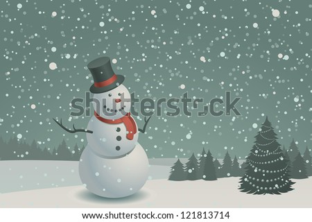 Christmas scene with snowman and christmas tree - stock vector