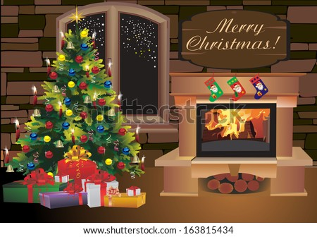 Christmas scene with tree gifts and fire - stock vector