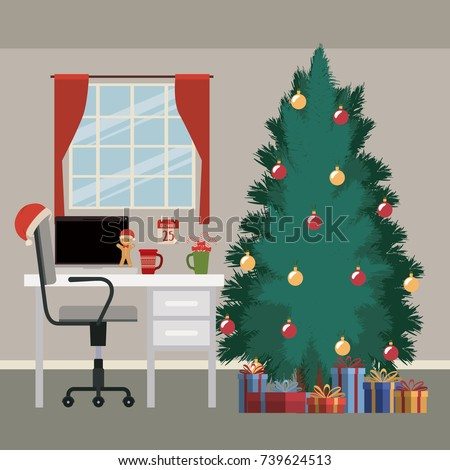 Christmas Scene With Window Background And Office Desktop Computer Big Tree