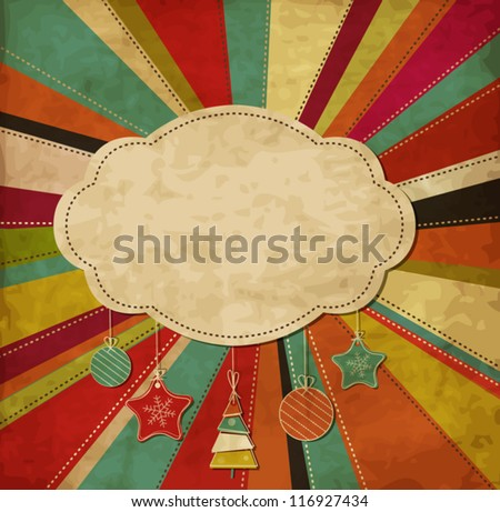 Christmas scrap card with frame and decorations - stock vector