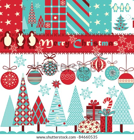 Christmas scrapbook - stock vector