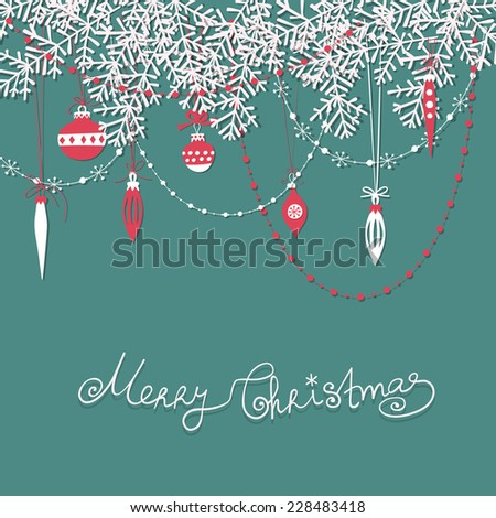 Christmas scrapbook card. Paper fir branches, baubles, teardrops and garlands over blue background. - stock vector