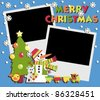 Christmas Scrapbooking. A set of two photos and illustrations - stock vector