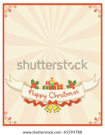 Christmas scroll and text.Vintage background with Holly sprig for design - stock vector
