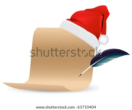 christmas scroll paper vector - stock vector