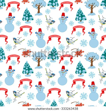 "Christmas seamless background, hand drawn vector illustration. Red ribbon ""Merry Cristmas"", Snowman, snowflakes, snow covered trees, bird. - stock vector"