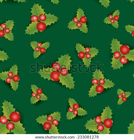 Christmas Seamless Background. Merry Christmas festive endless pattern with berry - stock vector