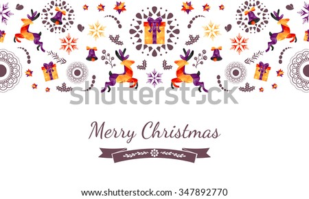 Christmas seamless background with geometric deer, bells, gift box, snowflakes and drawn mandala, mistletoe. Christmas card, triangle pattern. Great for fabric, web footer or header, cover... Vector - stock vector