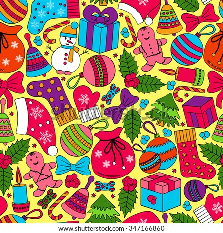 Christmas seamless background with many winter doodles. Greating card. Toys, cookies, snowmen, fir, candies, socks, gifts, bows, snowflakes, stars, hollies, mittens, etc.