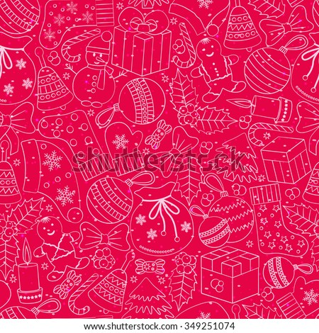 Christmas seamless background with many winter doodles. Greating card. Toys, cookies, snowmen, fir, candies, socks, gifts, bows, snowflakes, stars, hollies, mittens, etc. - stock vector