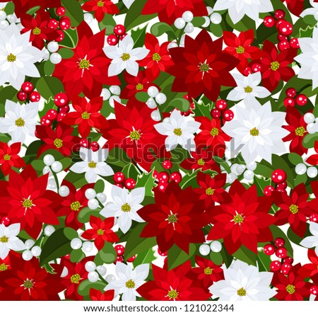 Christmas seamless background with poinsettia, holly and mistletoe. - stock vector