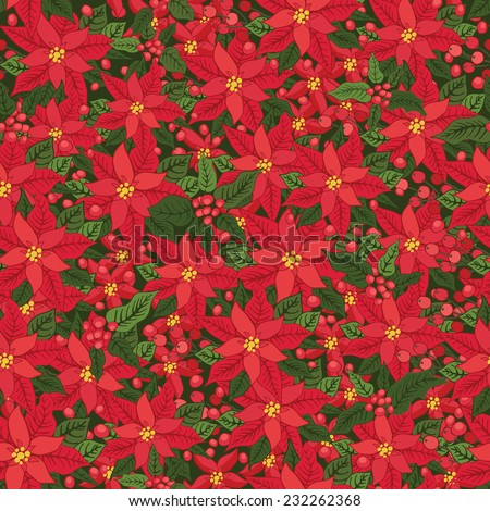 Christmas seamless background with poinsettia, holly and mistletoe.Vintage background .For Backdrop,background,fabric,Wallpaper.Christmas,new year .Vector set - stock vector