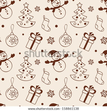 Christmas seamless background with snowman, fir tree, gift, sock and baubles - stock vector