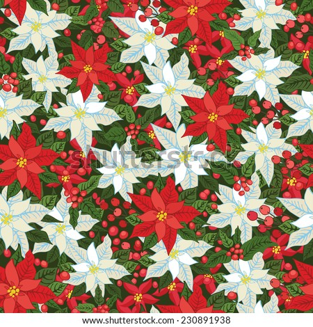 Christmas seamless background with White and Red poinsettia flowers,holly and mistletoe.Vintage background .For Backdrop,background,fabric,Wallpaper.New year .Vector  - stock vector