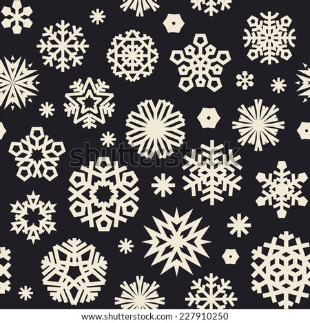 Christmas Seamless Black and White Pattern with a Snowflakes. Editable pattern in swatches. - stock vector