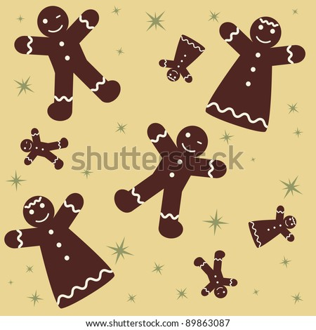 Christmas Seamless Gingerbread Background - stock vector