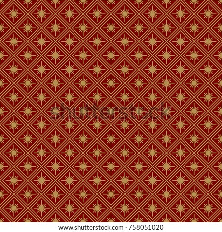 Christmas seamless pattern art deco geometric gold line style on red background with snowflake for product promotion, poster, christmas sale, greeting cards, web, decoration. Vector Illustration