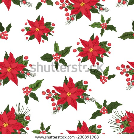 Christmas seamless pattern,backdrop with poinsettia flowers, holly,pine.White background .For Backdrop,background,fabric,Wallpaper.Christmas,new year .Vector set - stock vector