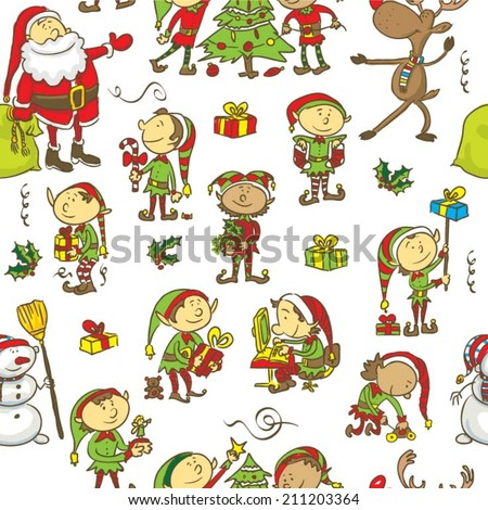 Christmas seamless pattern background - stock vector