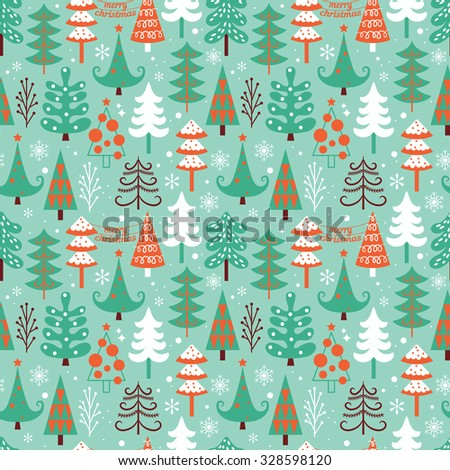 Christmas seamless pattern design with decorative trees. Vector illustration - stock vector