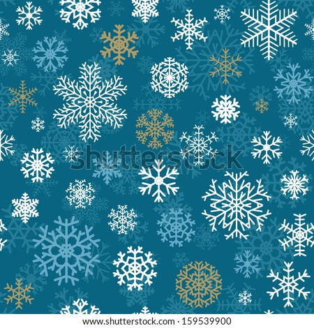 Christmas seamless pattern from multicolored snowflakes on blue background - stock vector