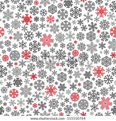 Christmas seamless pattern from red and black snowflakes on white background - stock vector