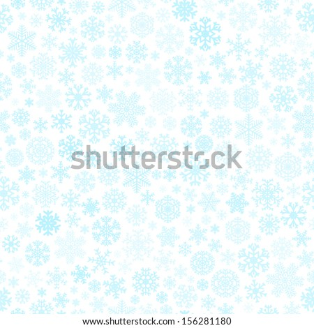 Christmas seamless pattern from snowflakes of different blue shades on a white background - stock vector