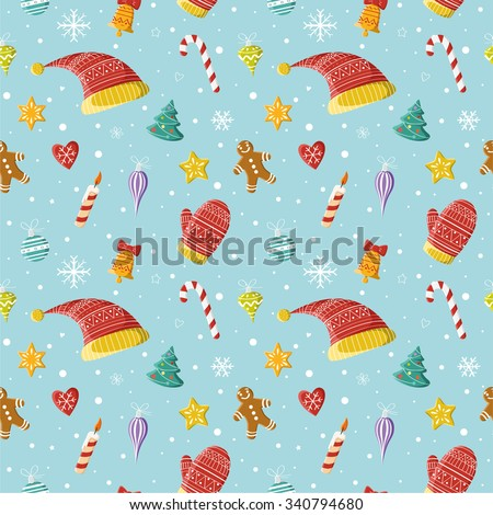 Christmas seamless pattern. New year and Christmas objects: Christmas decorations, hats, mittens. Picture for prints, Christmas cards, decoration, covers, poster, print, banner, invitation. - stock vector