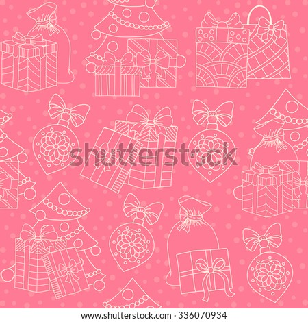 Christmas seamless pattern. New Year tiling texture for design. Doodle style. Wrapping paper.