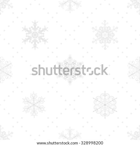 Christmas seamless pattern of snowflakes and dots, gray on white