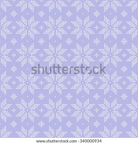 Christmas seamless pattern of snowflakes big classic knitted pattern of small dots in the circles of light purple color. - stock vector