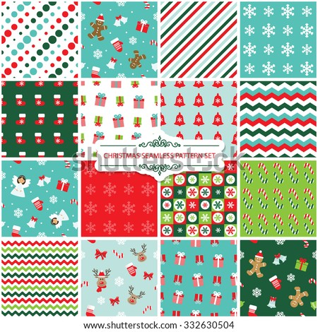 Christmas seamless pattern set. - stock vector