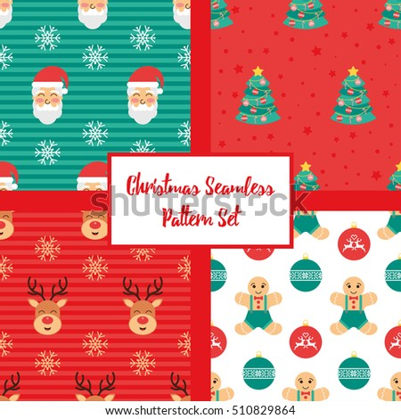 Christmas Seamless Pattern Set Design