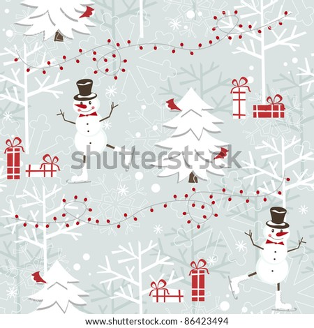 Christmas seamless pattern skating happy snowman - stock vector