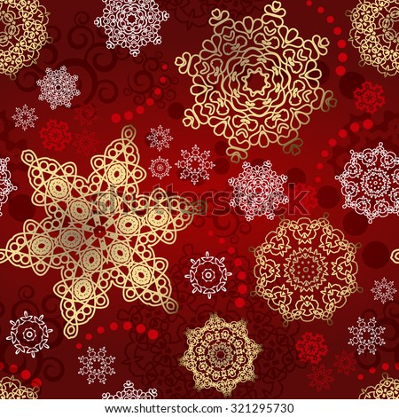 Christmas seamless pattern vector background  from multicolored snowflakes and shapes ornaments on red background for wrapping paper ,textile or card - stock vector