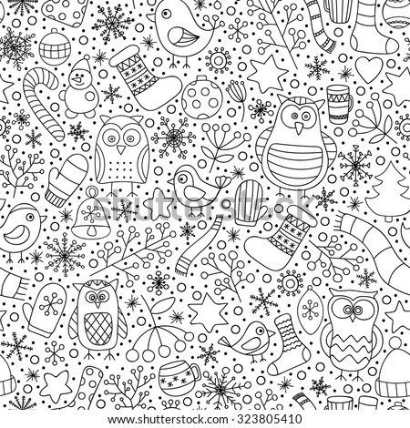 Christmas seamless pattern. Vector hand drawn outline winter elements. Fun doodle background for kids. Snowflake, owl, christmas tree, mittens. On white background. Coloring page for kids and adult. - stock vector