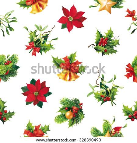 Christmas seamless pattern. Vector illustration. - stock vector