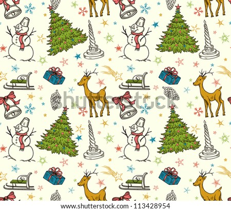 Christmas seamless pattern with deer, snowman, snowflakes, etc. Hand drawn - stock vector