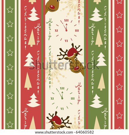 Christmas seamless pattern with deers - stock vector