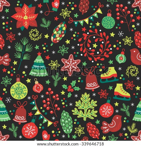 Christmas seamless pattern with fir tree, poinsettia, cone, wreath, ball, bauble, skates, garland, confetti, bird, star, bell, fir branch, cookie, flowers, berry, snowflakes and other holiday symbols - stock vector